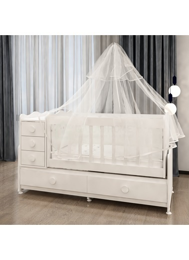 Garaj Home Garaj Home Melina Lüks Uyku Setli Beşik Kombini/ Uyku Seti Beyaz Beyaz
